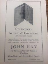 John Hay Leather Stationary 1927 Advert Edinburgh Corporation Official Guide