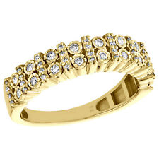 10K Yellow Gold Mens Miracle Set Diamond Wedding Band 2 Row 5.50mm Ring 1/2 CT.