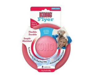 KONG Puppy Flyer Frisbee Rubber Disc, Fetch Dog Toy. Pink or Blue - Small