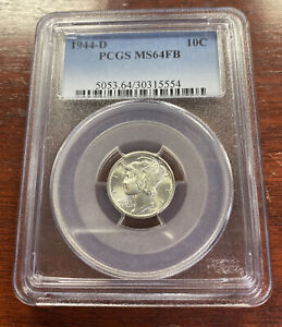 1944-D 10C Mercury Silver Dime PCGS MS64FB