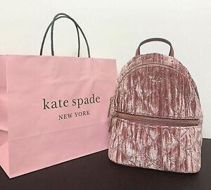 Kate Spade Natalia Crushed Velvet Mini Convertible Backpack, Pomegranate New