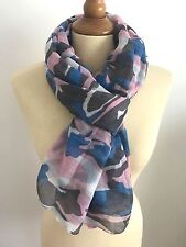 FOULARD ECHARPE CHECHE CAMO CAMOUFLAGE ARMEE MILITAIRE BLEU ROSE
