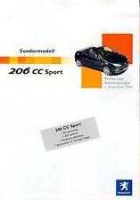 Peugeot 206 CC Sport Preisliste 1.12.04 price list 2004 Auto PKWs Frankreich