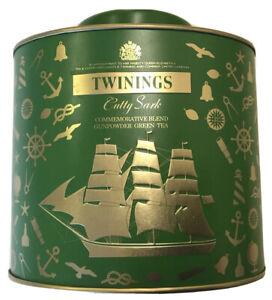 Green + Gold EMPTY tin Twinings Cutty Sark Commemorative Blend Green tea