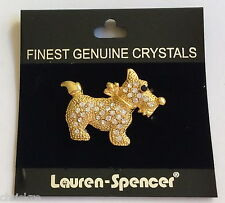 Gold Dog Pin Brooch Scottish Terrier Puppy Plated Austrian Crystal USA Seller