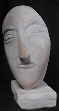 Vintage Modern American Outsider Art Sculpture Carved Stone Head Ted Ludwiczak