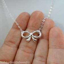 Bow Necklace - 925 Sterling Silver - Ribbon Necklace Bow Jewelry Fashion NEW