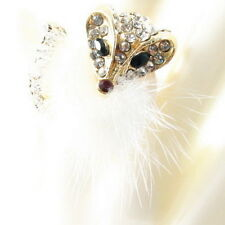 RING Rhinestone Fashion FEATHER colorful White Gold adjustable ONE SIZE FOX NEW