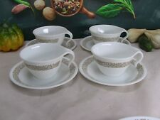 Corelle by Corning - Vitrelle - Four Cups & Saucers in Woodland Brown pattern