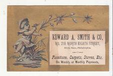 Edward A Smith Furniture Carpets Stoves Philadelphia StatueVict Card c1880s