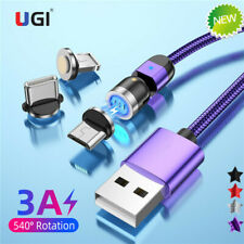3A Fast Magnetic Cable Braided 540º Type-C Micro USB Charging Cable Charger 1-3M
