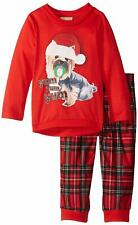 Komar Kids Little Girls' Plaid Holiday Puppy BMJ 2 Piece Set, Red, 4T