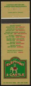 Canada The Elephant & Castle Restaurants Matchbook cover