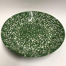 "ROMA Inc Made in Italy Large Green Spatterware Spongeware Serving Salad Bowl 13"""