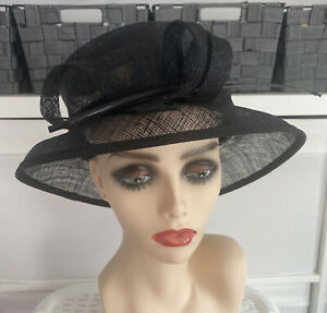 Ladies Black 100% Straw Hat Weddings/Races/Occasions by Accessorize