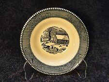 """Currier Ives Royal China Blue White School House Cereal Bowl 6 1/4"""" Shabby Chic!"""