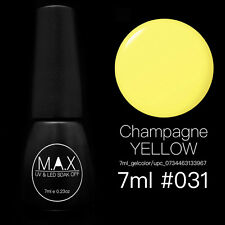 MAX 7ml Nail Art Color UV LED Lamp Soak Off Gel Polish #031-Champagne Yellow