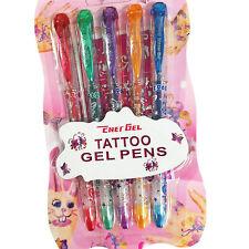 5 Kids Temporary Washable Tattoo Gel Glitter Pens Stencil Kit Set Childrens Fun