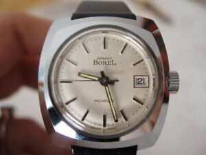 NOS NEW VINTAGE SWISS WATER RESIST WITH DATE ERNEST BOREL WOMEN'S WATCH 1960'S