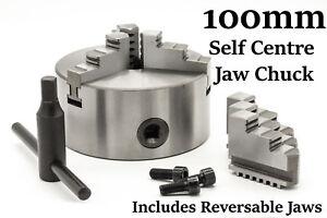 3 Jaw self centering Mini Lathe Chuck 100mm 4 inch + Reversible Jaw, Key Handle