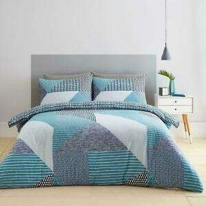 Catherine Lansfield Larsson Geo Duvet Quilt Cover Teal Bedding Set