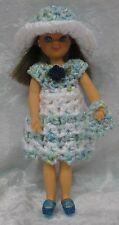"Fits 6"" TUTTI, Chris & Buffy #06 Handmade Doll Clothes Crochet Dress, Hat, Purse"