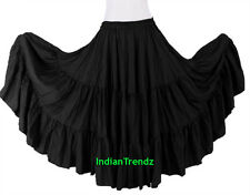 Black - 100% Cotton 10 Yard 3 Tiered Gypsy Skirt Belly Dance Flamenco Soft Jupe