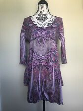 womens tops size small  3/4 Sleeve Floral Purple Long In Front Sort On The Back