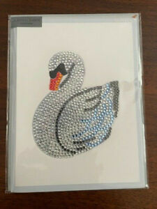Papyrus Judith Leiber Couture Swan Bling Gem Sparkle Blank Card-BNWT