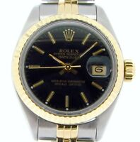 Rolex Datejust Lady 2Tone 18K Yellow Gold Stainless Steel Watch Black Dial 69173