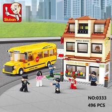 Sluban B0333 City School Bus Station Figure Building Block Toy  blocks toys