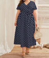 gepunktetes Wickelkleid Kleid Cocktailkleid Dress Abend blau /gepunkt Gr. 48