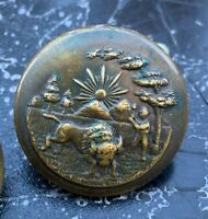 Lot 2 vintage antique Brass STEEL BACK Mexico BULL Farmer MILITARY ? BUTTON