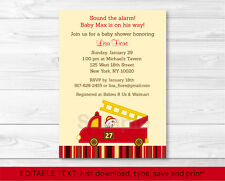 Fire Truck Fire Engine Dalmation Baby Shower Invitation EDITABLE PDF