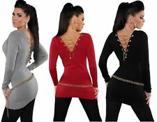 WOMENS LADIES LACE UP BACK GOLD CHAIN JUMPER KNITWEAR SWEATER TOP SIZE 12 14