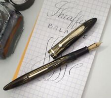SHEAFFER BALANCE FOUNTAIN PEN 1930s, BROWN PEARL STRIPED, RESTORED