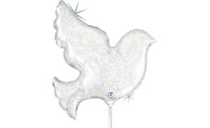 "Mini Shape 14"" Pearl White Dove Foil Balloon - Pack of 2"