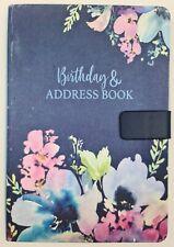 A5 Satin Fabric Address & Birthdays Book Floral Design Magnetic Closure NAVY