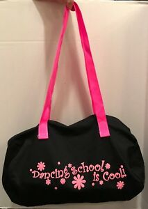 NEW Small Duffel Dance Black Bag w/ Dancing School is Cool pink lettering