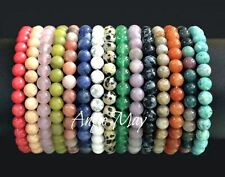"Wholesale 25 Natural 6mm Gemstone Round Bead 7"" Crystal Healing Stretch Bracelet"