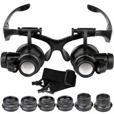 10/15/20/25x Magnifying Glass Head-Mounted Magnifier Watchmaker Repair Loupe