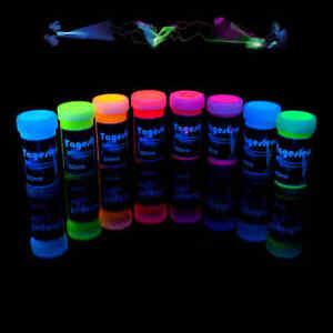 8 x 50ml Schwarzlichtfarbe Tagesleuchtfarbe  UV-Farbe  Neon Premium-Qualität