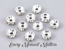 100 x SILVER RONDELLE RHINESTONE SPACER BEADS - GRADE A - 6mm and 8mm