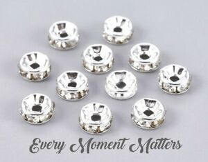 100 x SILVER RONDELLE RHINESTONE SPACER BEADS - GRADE A - 6mm, 7mm and 8mm