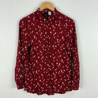 H&M Blouse Top US 4 AU 8 Red Bird Print Long Sleeve Button Closure Collared