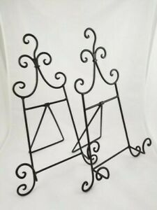 """Table Display Scroll Easel Set of 2 Metal Wire Black 17.5"""" x 10"""" Home Decor"""