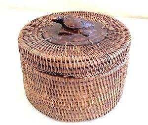 Vintage Hand Carved Wood Turtle & Wicker Woven Trinket Basket - Native/Tribal
