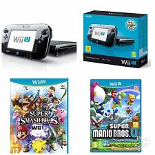 Nintendo Wii U 32 GB Black Console + Super Mario Bros + Super Smash Bros BUNDLE!