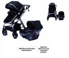 3 in1 Newborn Baby Pram Car Seat Pushchair Travel System Buggy Stroller Black