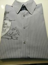Roar Men's Casual/Dress Shirt Sz M Gray/white Stripes w/ Embrodery 100% Cotton